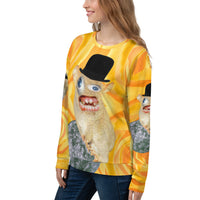 Spongmonkeys Unisex Sweatshirt on a yellow rose background