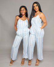 Load image into Gallery viewer, Light Blue Striped Jumpsuit