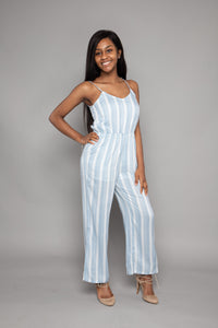 Light Blue Striped Jumpsuit
