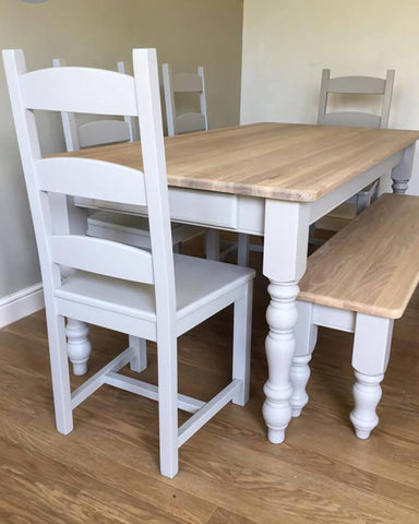 Tall Ladder Back Dining Set with Bench