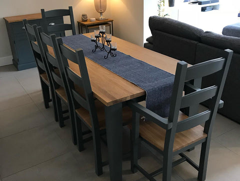 Tall Ladder Back Dining Set with Bench and Carvers