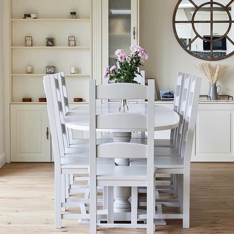 Trestle Dining Table with Ladder Back Chairs