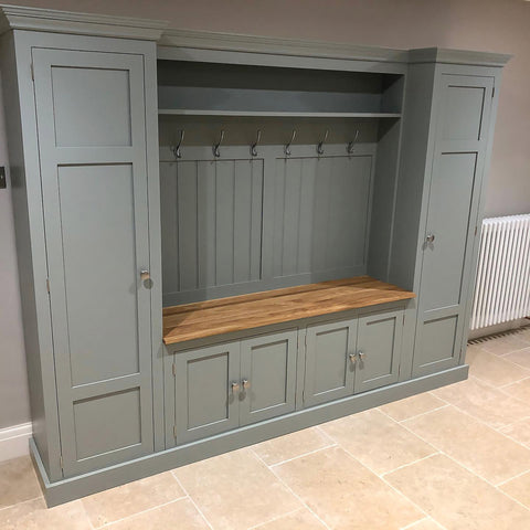 Large Country Boot Room Bench with Cupboards