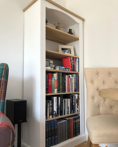 Tall Bookcase with Oak Shelves