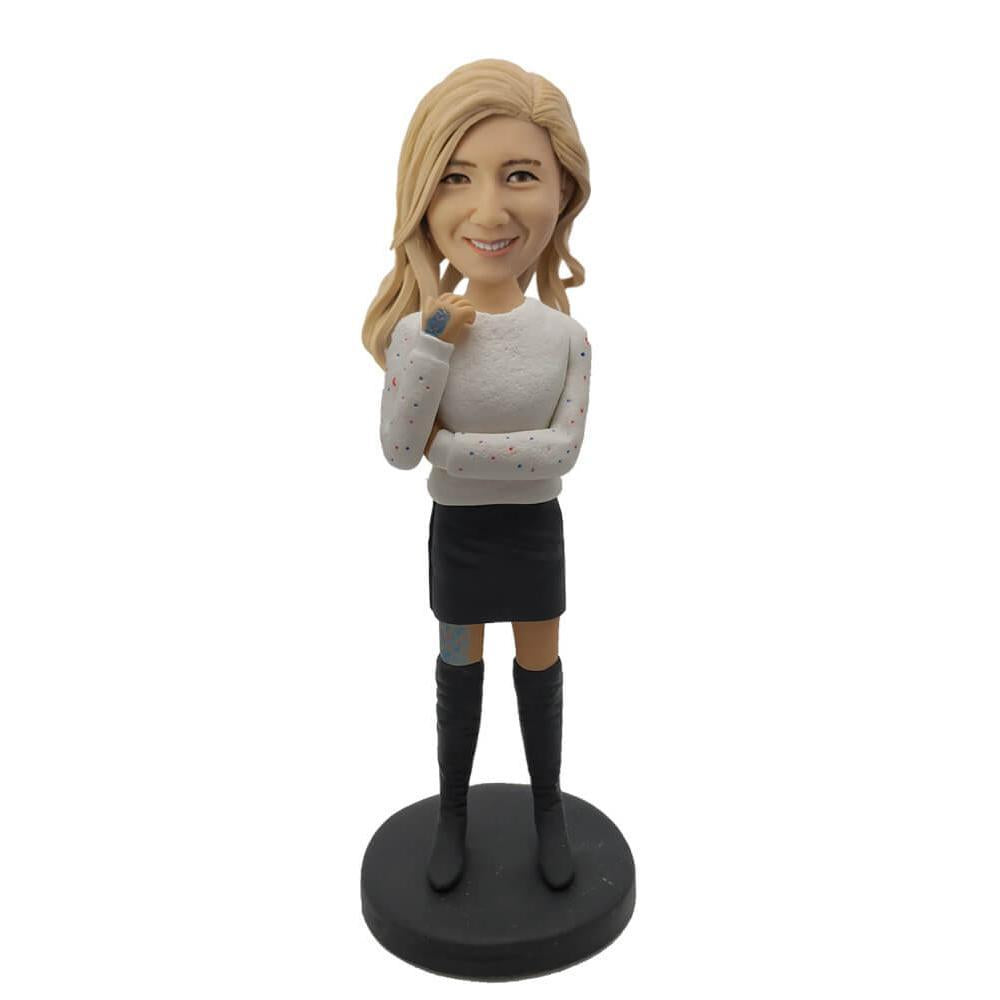 White Sweater & Black Short Skirt Lady Bobblehead