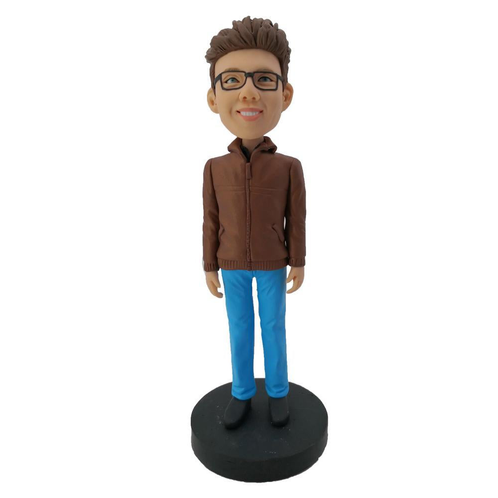Brown Jacket & Blue Pants Personalized Bobblehead