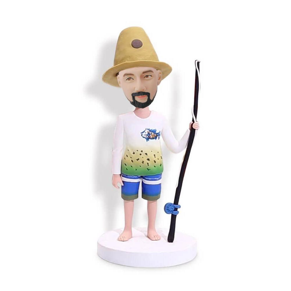 Short Pants Fishing Man Bobblehead