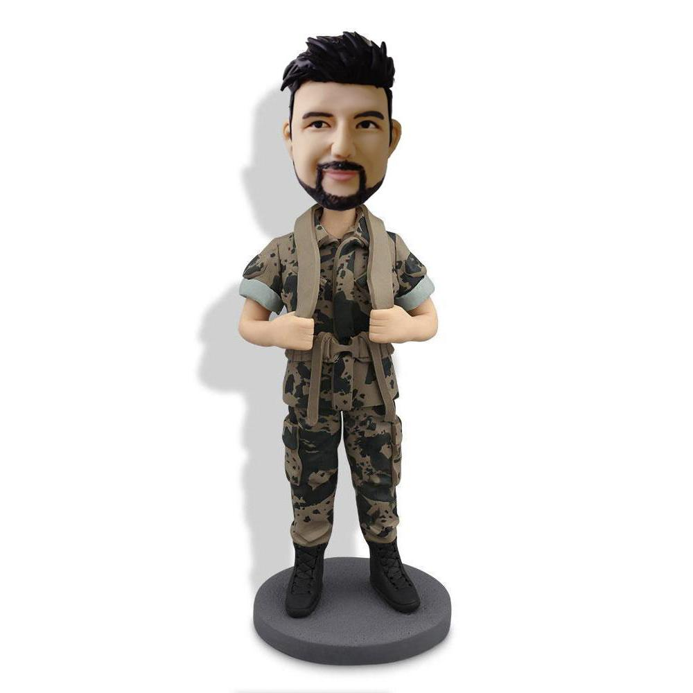 Brown Camouflage Military Custom Bobblehead