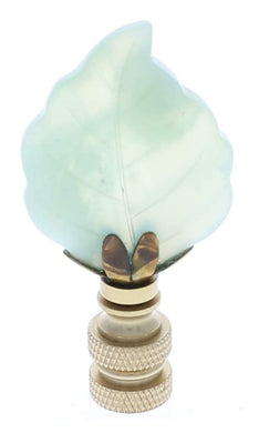 Art Finial - Green Aventurine Leaf with Brass Base, Set of 2, Mini Works of Art, Update Your Lamps!