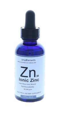 simplElements Liquid Ionic Nano Zinc, 2 fl oz, 30,000 ppm, All Natural & Vegan, More Effective than Capsules