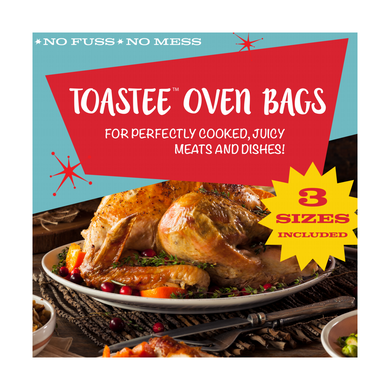 TOASTEE Oven Roasting Bags for Chicken, Ham, Prime Rib, Poultry, Turkey, Ribs, Seafood, Vegetables, 3 Sizes