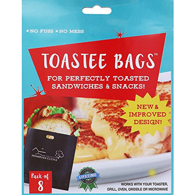 New & Improved Toastee Bags, Reusable Toaster Bags for Perfectly Toasted Sandwiches & Snacks, 16 Bags