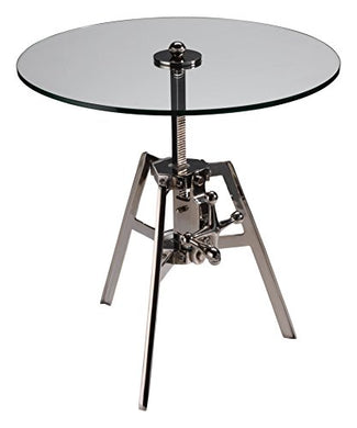 Zodax Milan Adjustable Glass and Polished Nickel Table