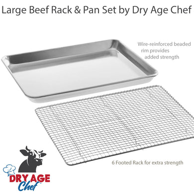 Large Beef Rack, Dry Aging Pan, Fridge Thermometer, and instructions by Dry Age Chef - Perfect for Dry Aging Steak at Home!