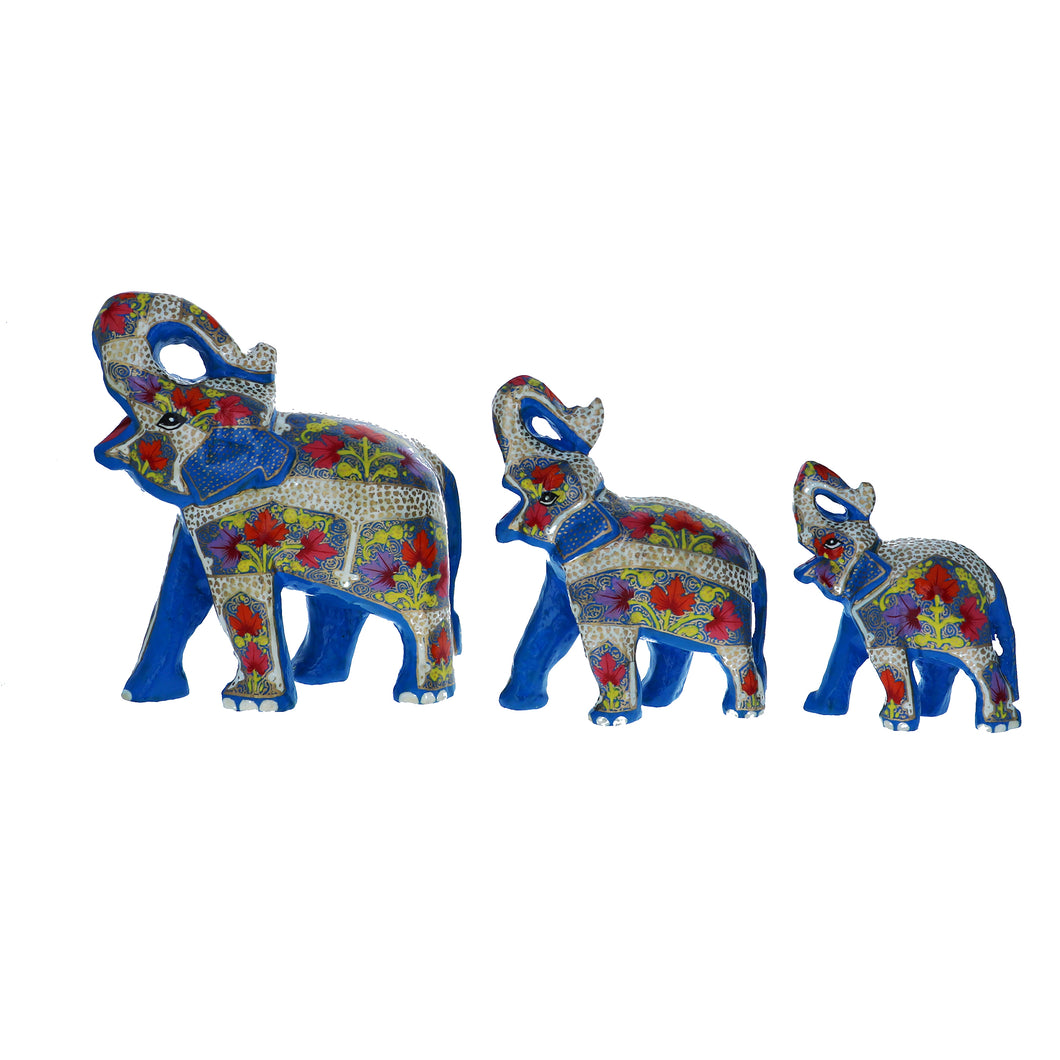 Kashmir Paper Mache Good Luck Elephants, Showered with Fortune Sculptures, Set of 3