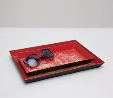 Datong Chinese Collection Red Linen-Textured Tin Nested Trays (Set of 2)