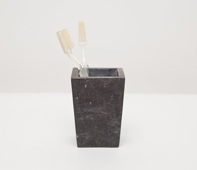 Luxor Collection Black Matte Marble Square Tapered Toothbrush Holder