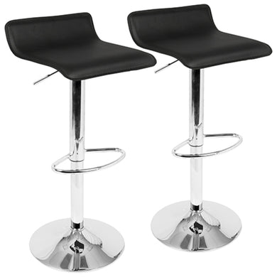 Ale Contemporary Adjustable Barstool in Black PU Leather - Set of 2