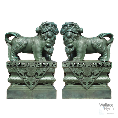 Hand Forged Bronze Chinese FOO DOG Sculptures, Set of 2 Cast Dragon Statues with pedestals