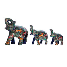 Load image into Gallery viewer, Kashmir Paper Mache Good Luck Elephants, Showered with Fortune Sculptures, Set of 3