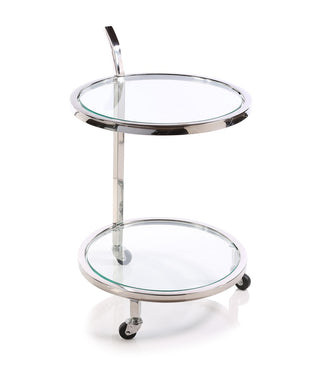 Zodax Minimalist Stainless Steel and Glass Round Tiered Tray Trolley