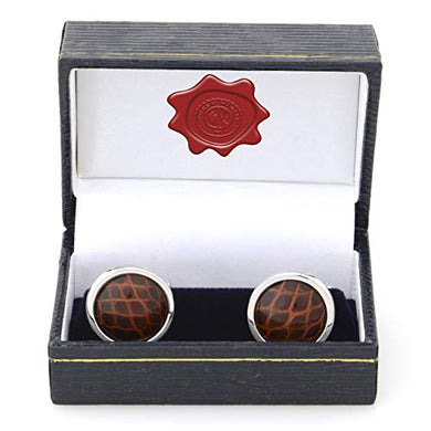 Brown Alligator Skin Cuff Links