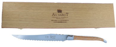Laguiole Au Sabot Bread Knife with Olive Wood Handle, Made in France