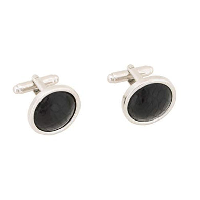 Black Alligator Skin Cuff Links