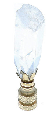 Art Finial - White Crystal with Brass Base, Set of 2, Mini Works of Art, Update Your Lamps!