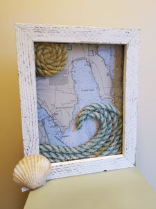 11x14in Clarks Cove Nautical Chart with Rope Wave