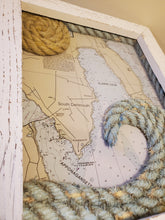 Load image into Gallery viewer, 11x14in Clarks Cove Nautical Chart with Rope Wave