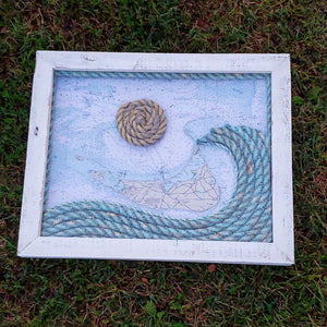 Nantucket Island Nautical Chart with Rope Wave