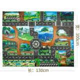 130*100CM Enlarge Car Toy Waterproof Playmat Simulation Toys City Road Map Parking Lot Playing Mat Portable Floor Games For Kids