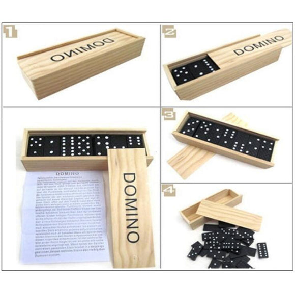DOMINO Puzzle Board Game with Wooden Box Game 28 pcs