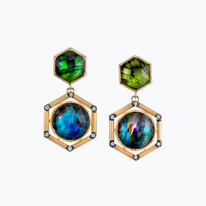 Peridot Butterfly Wing and Abalone Spencer Portrait Earrings