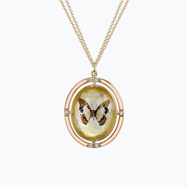Double-Sided Gold-Dusted Butterfly Necklace in Yellow Gold
