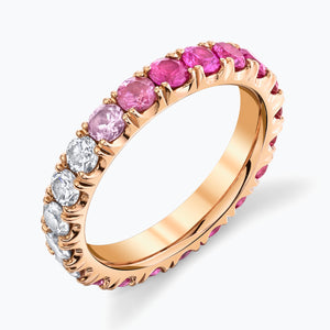 Ombre Pink Sapphire to Diamond Eternity Band