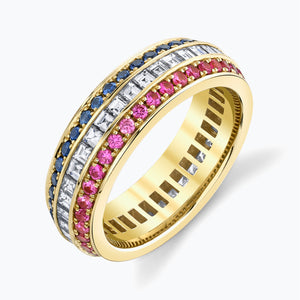 French Cut Triple Row Eternity Band