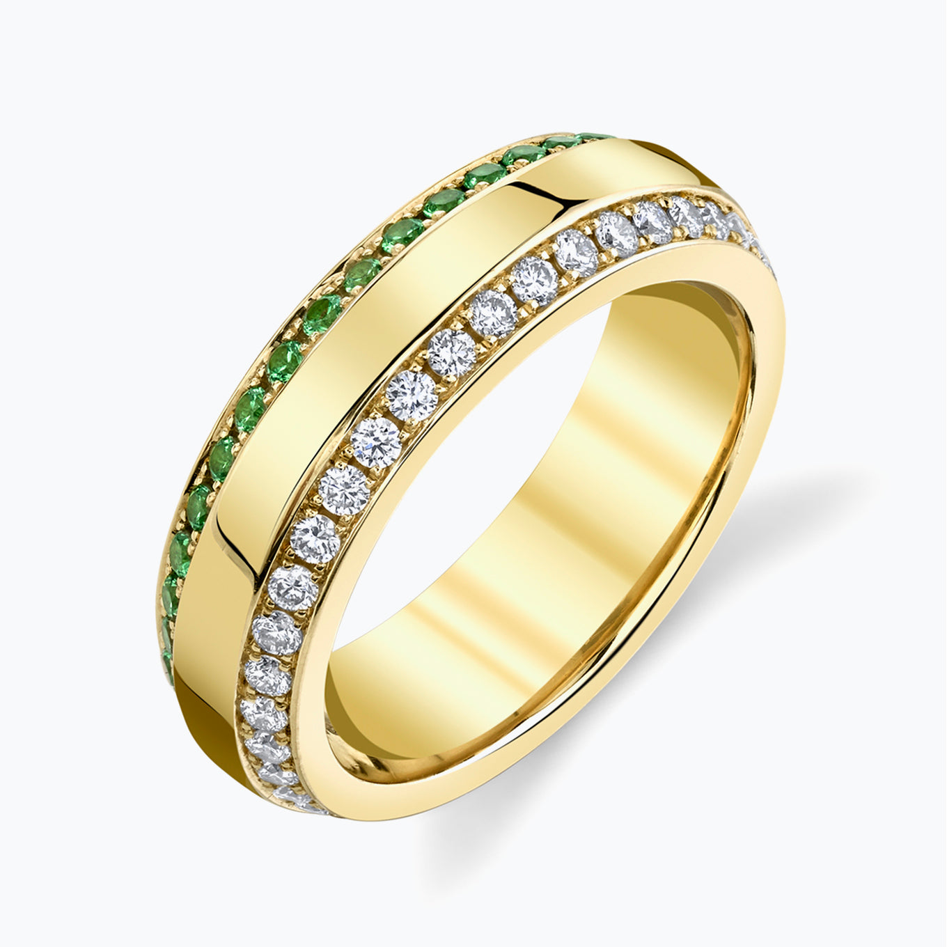 Triple Row Gold Center Tsavorite Diamond Eternity Band