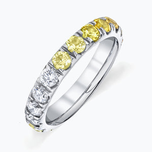 Ombre Yellow Sapphire Eternity Band in Platinum