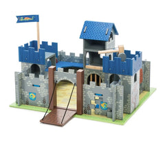 Gray castle with blue roof