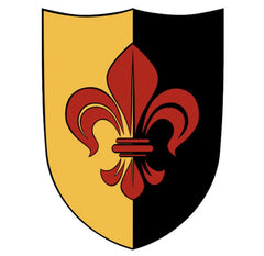Knights Shield black and red fleur de lis on yellow black backing