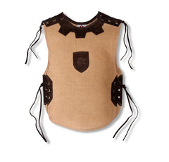 Brown burlap knights tunic with leather enhancements