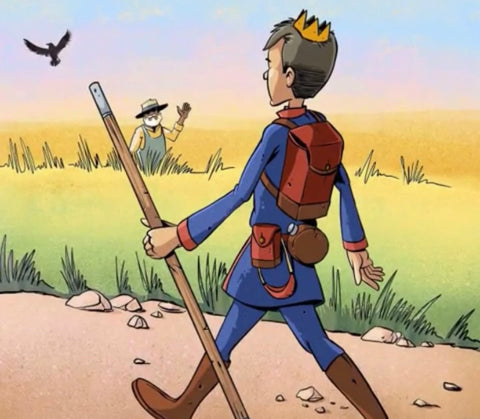 Young Prince Martin dressed in blue walks along a dirt road through the countryside with a brown staff in his hand