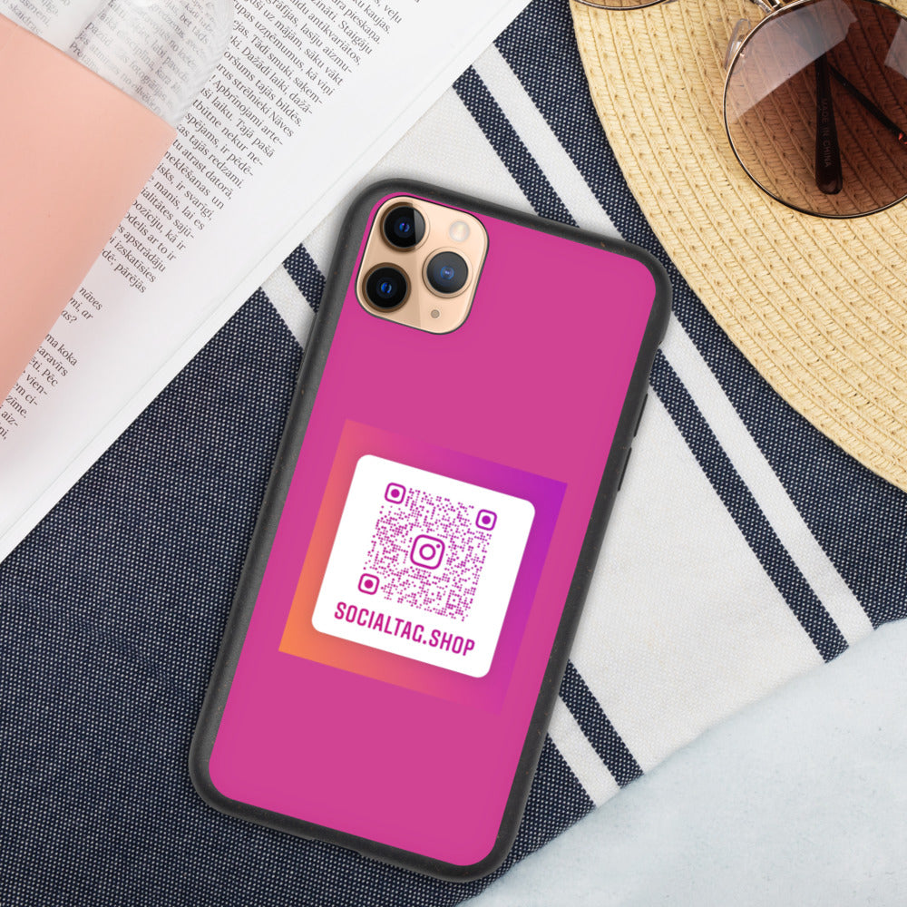 Biodegradable phone case with custom Instagram Nametag