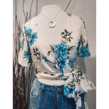 Load image into Gallery viewer, Tie-Front Floral Satin Top