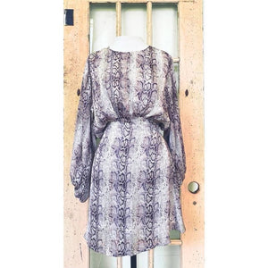 Snakeskin Print Dress w/ Keyhole Detail