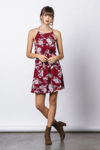 Maroon Halter Mini Dress