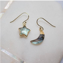 Load image into Gallery viewer, Moon & Star Drop Earring