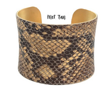 Load image into Gallery viewer, Leather Wrapped Concave Cuff